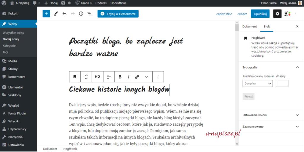 zaplecze bloga